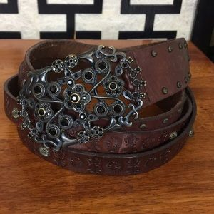 Fossil brown tools leather rhinestone buckle belt